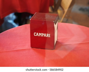 MILAN, ITALY - CIRCA JANUARY 2017: Campari napkins in a bar in the city centre