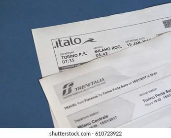 MILAN, ITALY - CIRCA JANUARY 2017: Italian Italo and Trenitalia train tickets