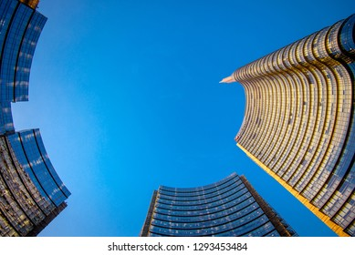 MILAN, ITALY - CIRCA JANUARY 2018: Piazza Gae Aulenti modern building, the finalcial district at Porta Garibaldi, the city is in nomination fo the 2026 olympic games.