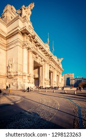 MILAN, ITALY - CIRCA JANUARY 2019:  Milan Central Station at Piazza Duca D\'Aosta. The city is in nomination for the 2026 olympic games