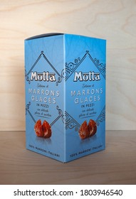 MILAN, ITALY - CIRCA JULY 2020: Box of Motta marrons glaces chestnuts