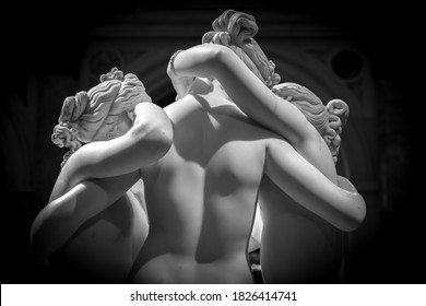MILAN, ITALY - CIRCA JUNE 2020: Antonio Canova's statue The Three Graces (Le tre Grazie). Neoclassical sculpture, in marble, of the mythological three charites (made in Rome, 1814-1817)