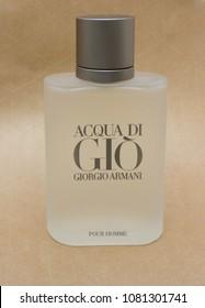 MILAN, ITALY - CIRCA MARCH 2014: Giorgio Armani, Acqua di Gio fragrance for men is one of the evergreen bestselling perfumes worldwide