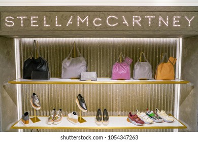 MILAN, ITALY - CIRCA NOVEMBER, 2017: Stella McCartney bags and shoes on display at Rinascente. Rinascente is a collection of high-end stores.