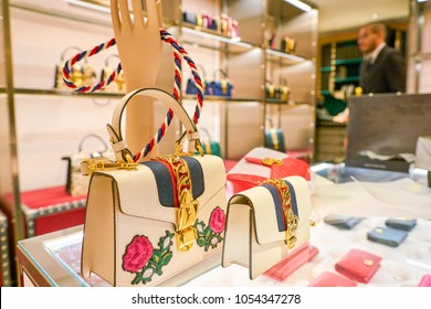 MILAN, ITALY - CIRCA NOVEMBER, 2017: Gucci bags on display at Rinascente. Rinascente is a collection of high-end stores.