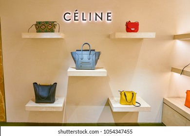 MILAN, ITALY - CIRCA NOVEMBER, 2017: Celine bags on display at Rinascente. Rinascente is a collection of high-end stores.