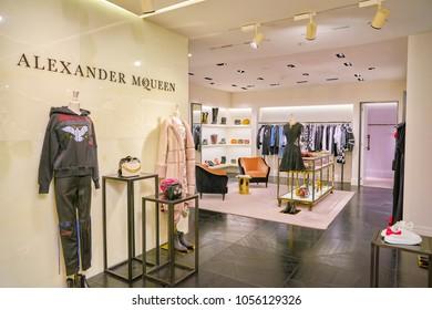 MILAN, ITALY - CIRCA NOVEMBER, 2017: various of Alexander McQueen clothes on display at Rinascente. Rinascente is a collection of high-end stores.