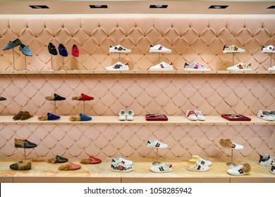 c19ff6d40 MILAN, ITALY - CIRCA NOVEMBER, 2017: Gucci shoes on display at Rinascente  shopping