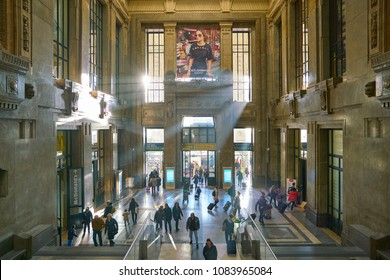 MILAN, ITALY - CIRCA NOVEMBER, 2017: Milano Centrale railway station in the daytime. Milano Centrale is one of the main railway stations in Europe.