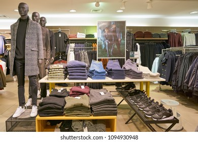 MILAN, ITALY - CIRCA NOVEMBER, 2017: clothing on display at retail store in Milan.