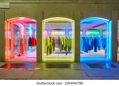 MILAN, ITALY - CIRCA NOVEMBER, 2017: shop windows display of clothing at a store in Milan, Italy.
