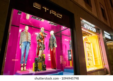 MILAN, ITALY - CIRCA NOVEMBER, 2017: shop window display of clothing at a store in Milan, Italy.