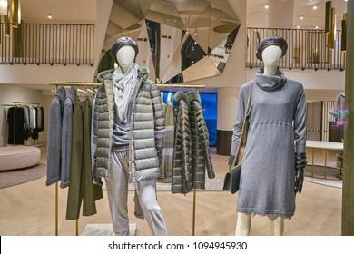 MILAN, ITALY - CIRCA NOVEMBER, 2017: shop window display of clothing at a Elena Miro store in Milan, Italy.