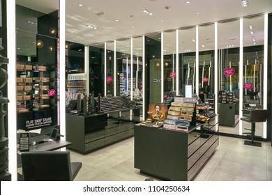 MILAN, ITALY - CIRCA NOVEMBER, 2017: interior of a MAC store in Milan. MAC is an abbreviation for Make-up Art Cosmetics.