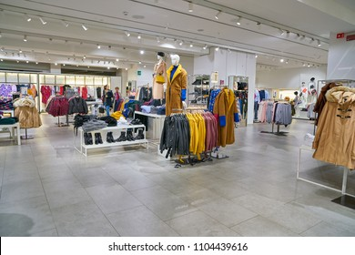 MILAN, ITALY - CIRCA NOVEMBER, 2017: inside a Mango flagship shop in Milan. MANGO is a Spanish clothing design and manufacturing company.