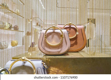 MILAN, ITALY - CIRCA NOVEMBER, 2017: bags on display at a Chloe shop in Milan. Chloe is a French luxury fashion house