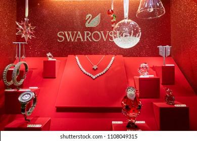 MILAN, ITALY - CIRCA NOVEMBER, 2017: jewellery display at Swarovski store in Milan. Swarovski is an Austrian producer of lead glass.