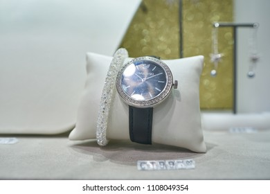 MILAN, ITALY - CIRCA NOVEMBER, 2017: a watch on display at Swarovski store in Milan. Swarovski is an Austrian producer of lead glass.