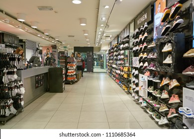 MILAN, ITALY - CIRCA NOVEMBER, 2017: inside Foot Locker store in Milan. Foot Locker Retail, Inc. is an American sportswear and footwear retailer