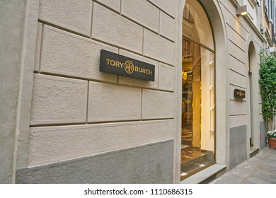 MILAN, ITALY - CIRCA NOVEMBER, 2017: Tory Burch store in Milan. Tory Burch LLC is an American fashion label owned, operated and founded by American designer Tory Burch.