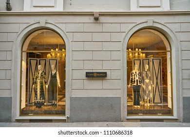 MILAN, ITALY - CIRCA NOVEMBER, 2017: display windows at Tory Burch store in Milan. Tory Burch LLC is an American fashion label owned, operated and founded by American designer Tory Burch.