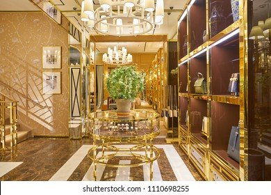 MILAN, ITALY - CIRCA NOVEMBER, 2017: interior shot of Tory Burch store in Milan. Tory Burch LLC is an American fashion label owned, operated and founded by American designer Tory Burch.
