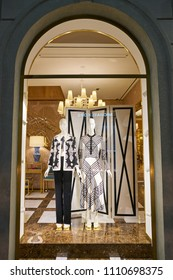 MILAN, ITALY - CIRCA NOVEMBER, 2017: display window at Tory Burch store in Milan. Tory Burch LLC is an American fashion label owned, operated and founded by American designer Tory Burch.