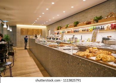 MILAN, ITALY - CIRCA NOVEMBER, 2017: interior shot of Farini in Milan. Farini is modern bakery which offers Italian pastry, salads, bowls and pizza