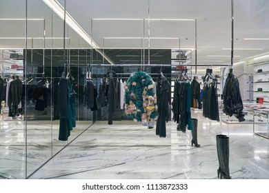MILAN, ITALY - CIRCA NOVEMBER, 2017: goods on display at Saint Laurent store in Milan. Saint Laurent is a French luxury fashion house.