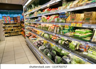 MILAN, ITALY - CIRCA NOVEMBER, 2017: food products for sale in Carrefour Express store in Milan.