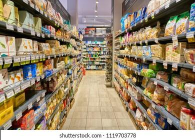 MILAN, ITALY - CIRCA NOVEMBER, 2017: interior shot of supermarket store in Milan.