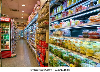MILAN, ITALY - CIRCA NOVEMBER, 2017: assortment of food on display for sale at supermarket in Milan.