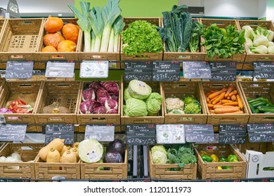 MILAN, ITALY - CIRCA NOVEMBER, 2017: assortment of vegetables on display for sale at  Bio c'Bon store in Milan.