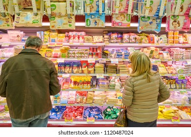MILAN, ITALY - CIRCA NOVEMBER, 2017: assortment food products on display for sale in supermarket in Milan.