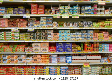 MILAN, ITALY - CIRCA NOVEMBER, 2017: assortment of food on display for sale at supermarket in Milan