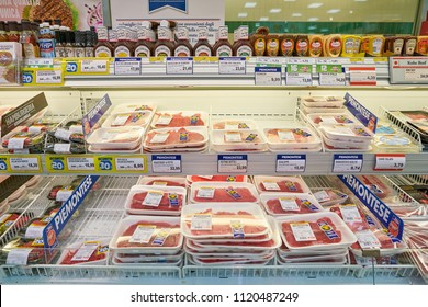 MILAN, ITALY - CIRCA NOVEMBER, 2017: meat products for sale in supermarket in Milan.