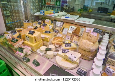 MILAN, ITALY - CIRCA NOVEMBER, 2017: cheese on display at Bio c'Bon supermarket in Milan.