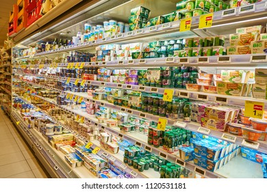 MILAN, ITALY - CIRCA NOVEMBER, 2017: inside Carrefour store in Milan.