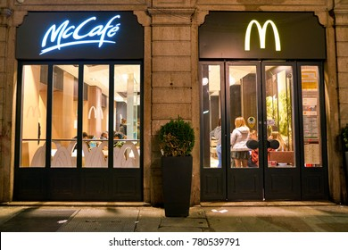 MILAN, ITALY - CIRCA NOVEMBER, 2017: a McDonald's restaurant in Milan at night.