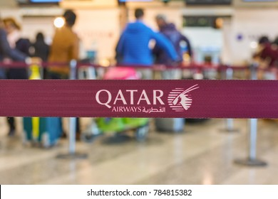 MILAN ITALY - CIRCA NOVEMBER, 2017: close up shot of Qatar Airways sign at check-in area at Milan-Malpensa airport, Terminal 1.