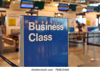MILAN , ITALY - CIRCA NOVEMBER, 2017: business class sign at check-in area in Milan-Malpensa airport, Terminal 1.