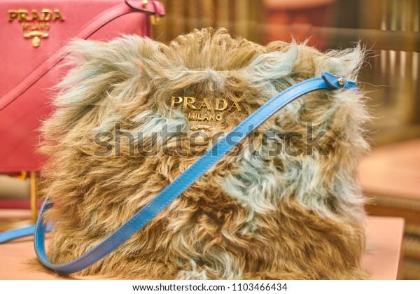 MILAN, ITALY - CIRCA NOVEMBER, 2017: a bag on display at Prada store in Galleria Vittorio Emanuele II.