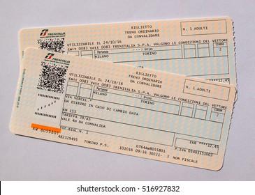 MILAN, ITALY - CIRCA OCTOBER 2016: Italian Trenitalia train tickets