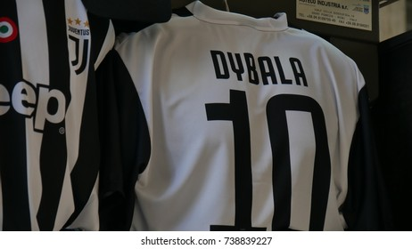 MILAN, ITALY - CIRCA OCTOBER 2017: the jersey number 10 of the Juventus football player Dybala for sale in a kiosk in the center of the city of Milan, Lombardy, Italy.