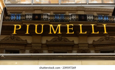MILAN, ITALY - DEC 23, 2014: Piumelli in the Galleria Vittorio Emanuele II, one of the world's oldest shopping malls. The gallery is built between 1865 and 1877 by Giuseppe Mengoni