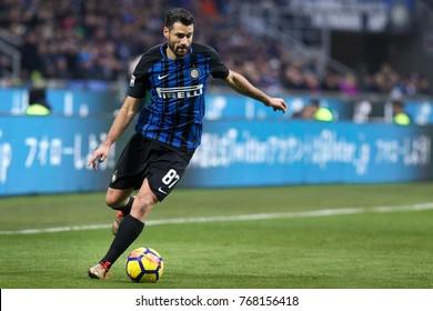 Milan, Italy, december 03 2017: Candreva Antonio in action close to penalty area during football match FC INTER vs CHIEVOVERONA, Italy League Serie A 2017/2018, San Siro stadium