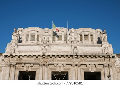 Milan, Italy - December 06, 2017 : View of Milan central station building