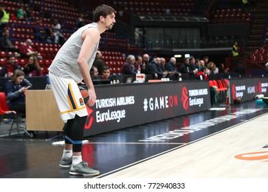 Milan, Italy, december 07 2017: Shved Alexey during pregame before basketball match Ax Armani Exchange Olimpia Milan vs Khimki Moscow Region, EuroLeague 2017/2018.