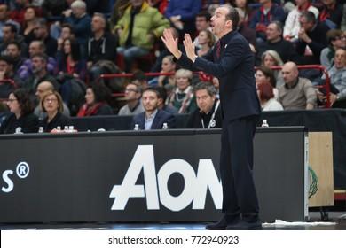 Milan, Italy, december 07 2017: Pianigiani Simone Armani headcoach gives advices to his players during basketball match Ax Armani Exchange Olimpia Milan vs Khimki Moscow Region, EuroLeague 2017/2018.