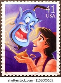 Milan, Italy - December 09, 2016: Aladdin and the Genie on american postage stamp